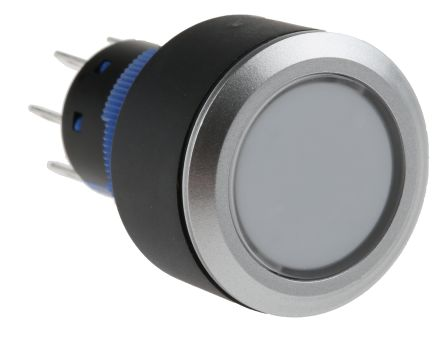 RS PRO Double Pole Double Throw (DPDT) Green LED Push Button Switch, IP65, 22.2 (Dia.)mm, Panel Mount, 250V ac (20)