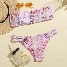 Snakeskin Print Cut Out Bikini Swimsuit