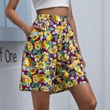 Bermuda Shorts mit Blumen Muster