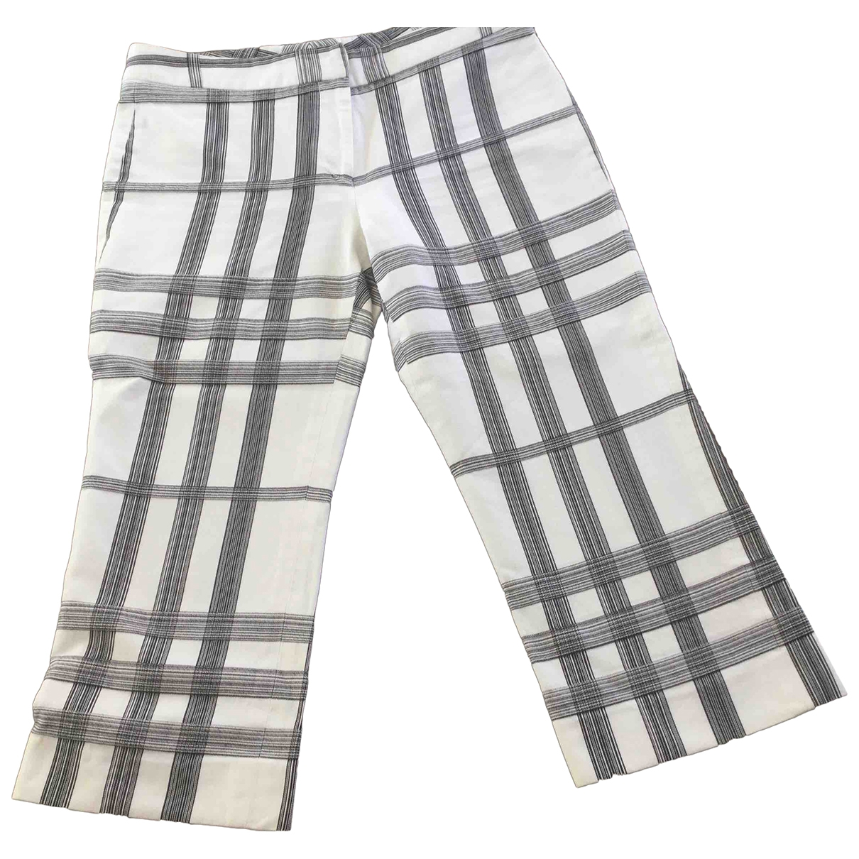 Burberry \N White Cotton Trousers for Women 6 UK