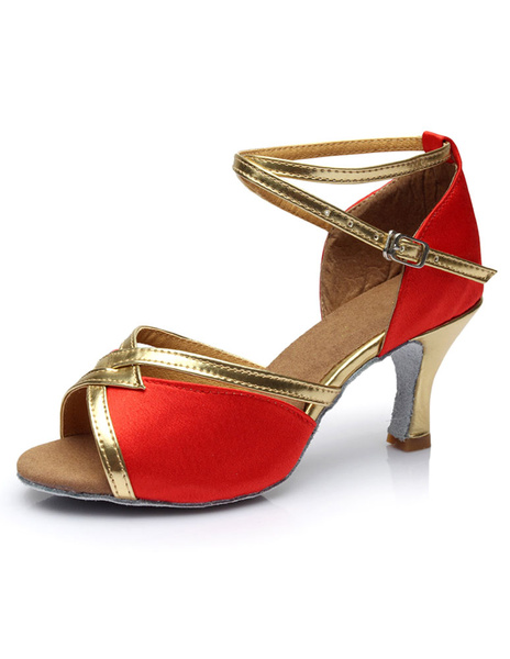 Milanoo Latin Dance Shoes Satin Open Toe Criss Cross Salsa Dance Shoes For Women