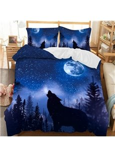 The Wolf Howling In The Dark Blue Night Soft 3D Printed Polyester 3-Piece Bedding Sets/Duvet Covers