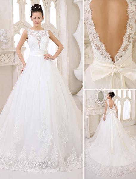 Milanoo Vestidos de novia Marfil Backless vestido de novia de encaje apliques Ribbon Sash Illusion Chapel Train vestido de novia