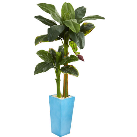5.5' Banana Artificial Tree in Turquoise Tower Vase, One Size , Green