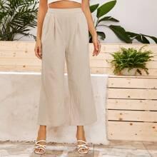 Pantalones anchos con diseño de fruncido