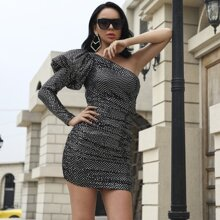 One Shoulder Puff Sleeve Sequin Bodycon Dress