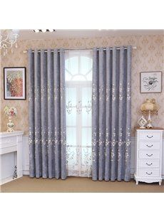 Elegant Grey Blackout Curtains with Delicate Stereo Applique Thick Chenille Physically Blocks Light Nicely Prevents UV Ray Excellent Performance on Ro