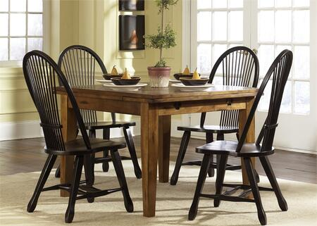 Treasures Collection 17-CD-O5RTS 5-Piece Dining Room Set  Retractable Table and 4 Black Side Chairs in Rustic Oak