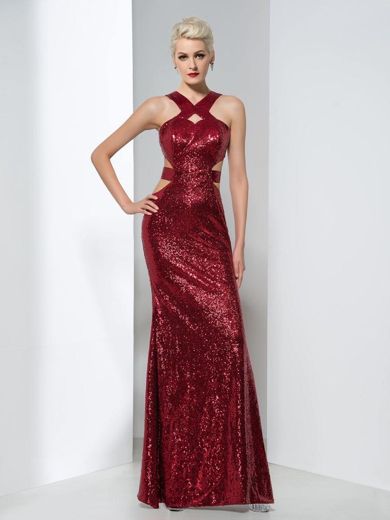 Ericdress Sheath Sequins Hollow Floor-Length Evening Dress