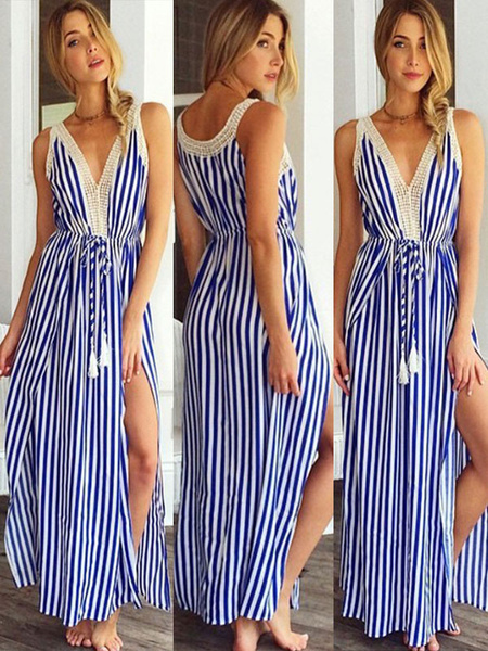 Milanoo Vestido largo azul  Moda Mujer con dibujo de banda sin mangas Vestidos de chifon con volantes con abertura lateral con cuello en V Verano