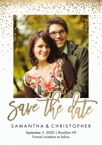 Save the Date 5x7 Cards, Premium Cardstock 120lb, Card & Stationery -Save the Date Gold Sprinkles