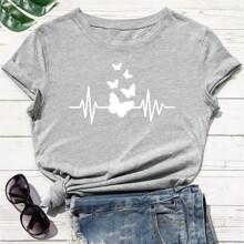 T-Shirt mit Schmetterling Muster und kurzen Ärmeln