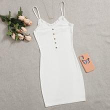 Frill Trim Buttoned Front Slip Dress
