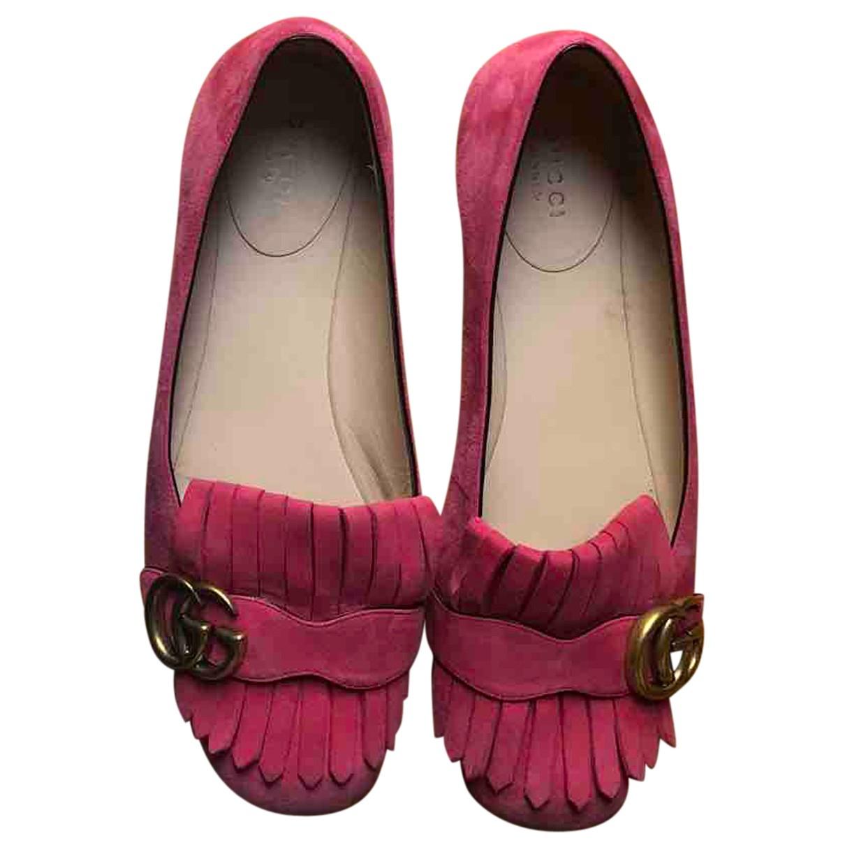 Gucci - Ballerines Marmont pour femme en suede - rose