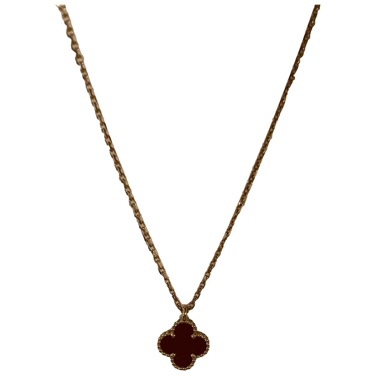 Van Cleef & Arpels - Collier Sweet Alhambra pour femme en or jaune - bordeaux