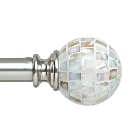 Liz Claiborne London Mop Ball 1 IN Curtain Rod, One Size , Gray