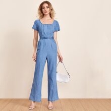 Zip Back Adjustable Belted Denim Jumpsuit