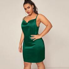Plus Draped Neck Satin Cami Dress