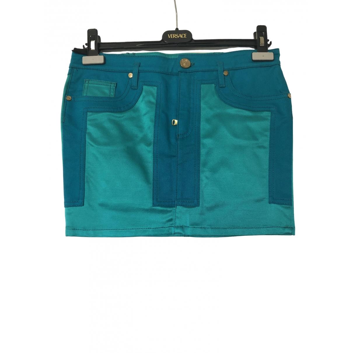 Versace - Jupe   pour femme en coton - turquoise