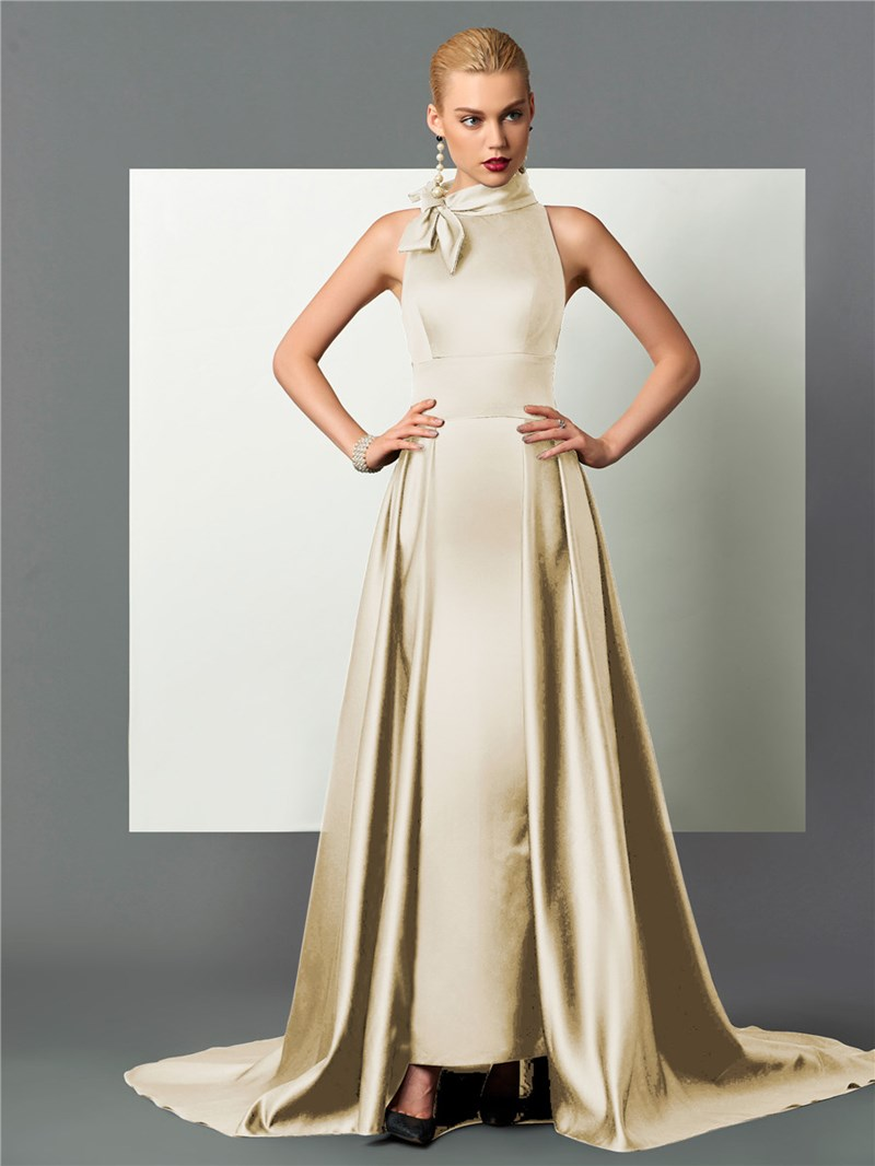 Ericdress Classic Black Halter Satin A Line Long Evening Dress