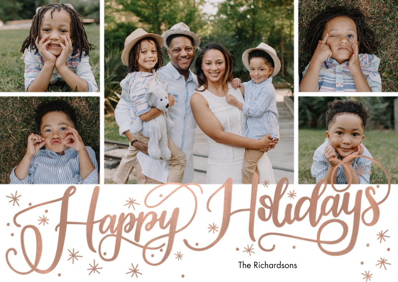 Holiday Photo Cards 5x7 Cards, Standard Cardstock 85lb, Card & Stationery -Holiday Scattered Stars by Tumbalina