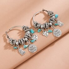 Letter Design Round Drop Earrings