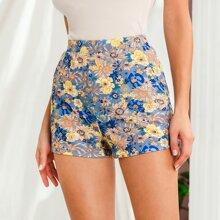 Shorts mit schraegen Taschen und Blumen Muster