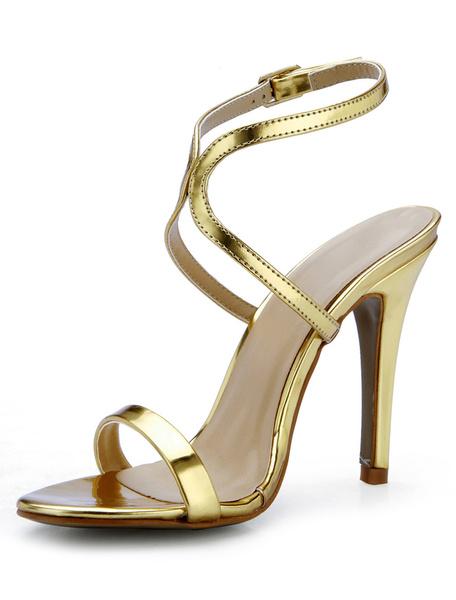 Milanoo High Heel Sandals Womens Gold PU Leather Open Toe Slingback Stiletto Heels Sandals