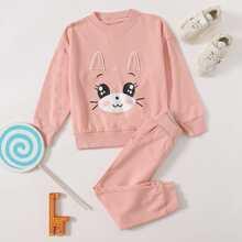 Toddler Girls Cartoon Graphic 3D Ears Design Sweatshirt & Sweatpants