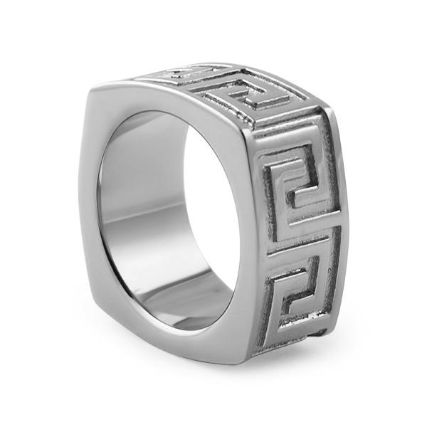 Greek Link Stainless Steel Ring