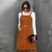 Cami Kord Kleid mit Knopfen vorn und Guertel