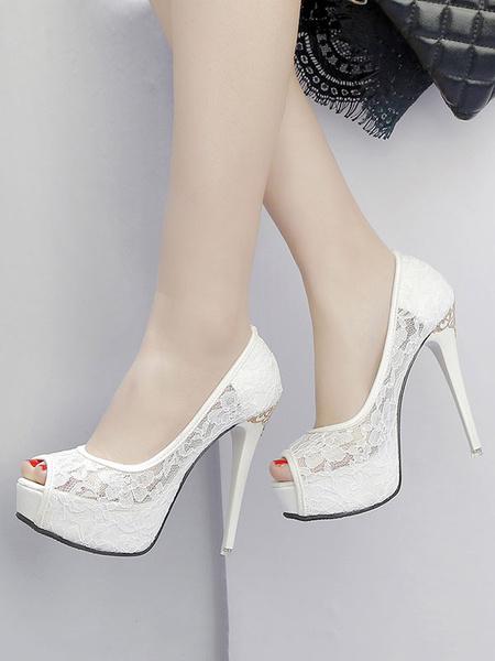 Milanoo Zapatos de novia de encaje Zapatos de Fiesta de tacon de stiletto Zapatos blanco  Zapatos de boda de punter Peep Toe 12cm de encaje