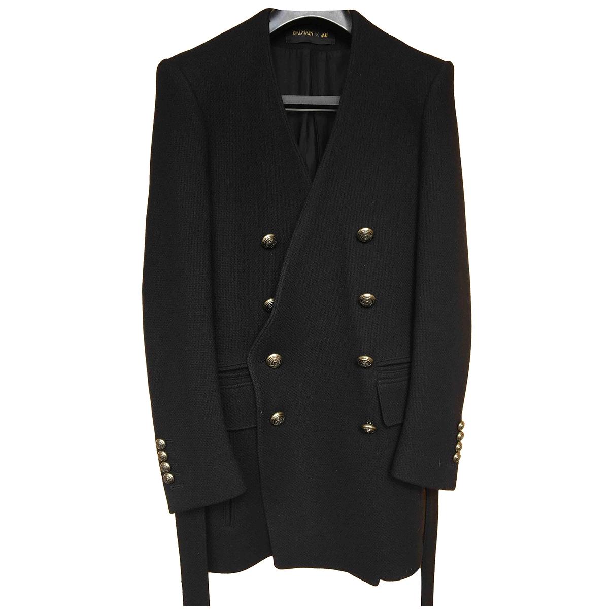 Balmain For H&m - Manteau   pour homme en laine - noir