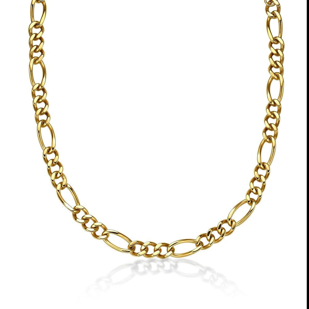 Men's Gold-tone Ion Plated Stainless Steel 11mm Figaro Chain Necklace (22 Inch)