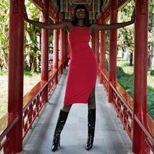 Halter Tie Back Split Thigh Bodycon Dress