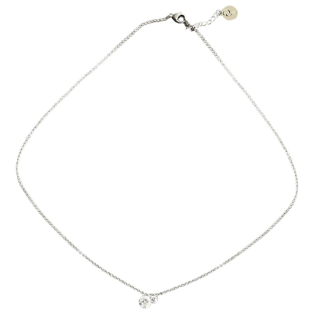 Non Signe / Unsigned Chaines Kette in  Silber Kristall
