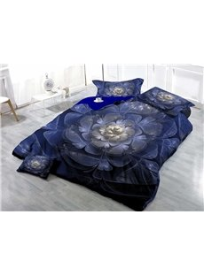 Blue Flower Wear-resistant Breathable High Quality 60s Cotton 4-Piece 3D Bedding Sets