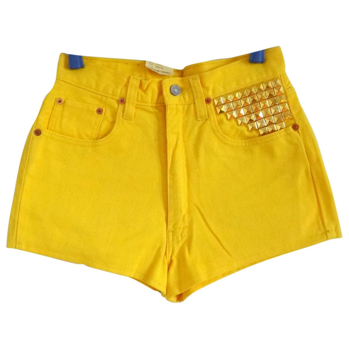 Levis - Short   pour femme en denim - jaune