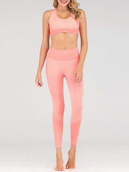Milanoo Yoga Two Piece Sets Pink Casual Sleeveless Outfit For Women