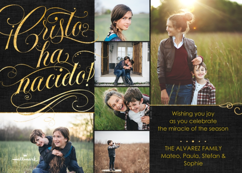 Christmas Photo Cards Flat Glossy Photo Paper Cards with Envelopes, 5x7, Card & Stationery -Cristo ha Nacido Collage