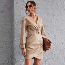 Surplice Neck Buckle Belted PU Leather Asymmetrical Hem Dress