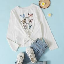 T-Shirt mit Twist, Schmetterling & Buchstaben Grafik