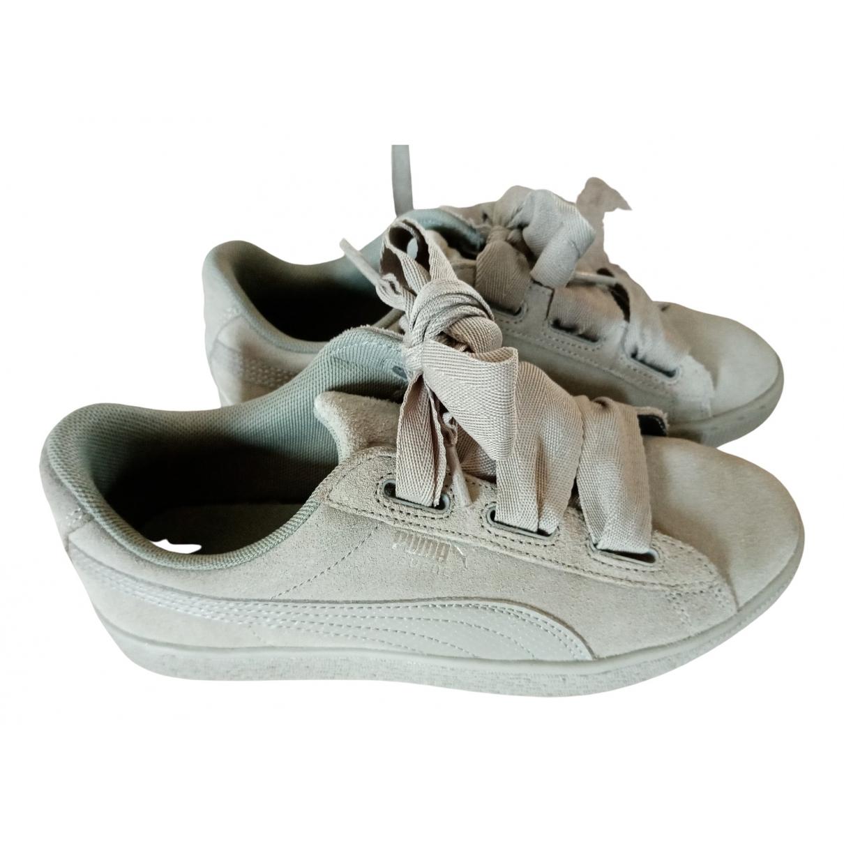 Puma \N Sneakers in  Grau Leder