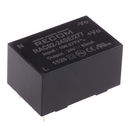 Recom , 2W Embedded Switch Mode Power Supply SMPS, 24V dc, Encapsulated