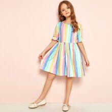 Girls Guipure Lace Trim Colorful Striped Dress