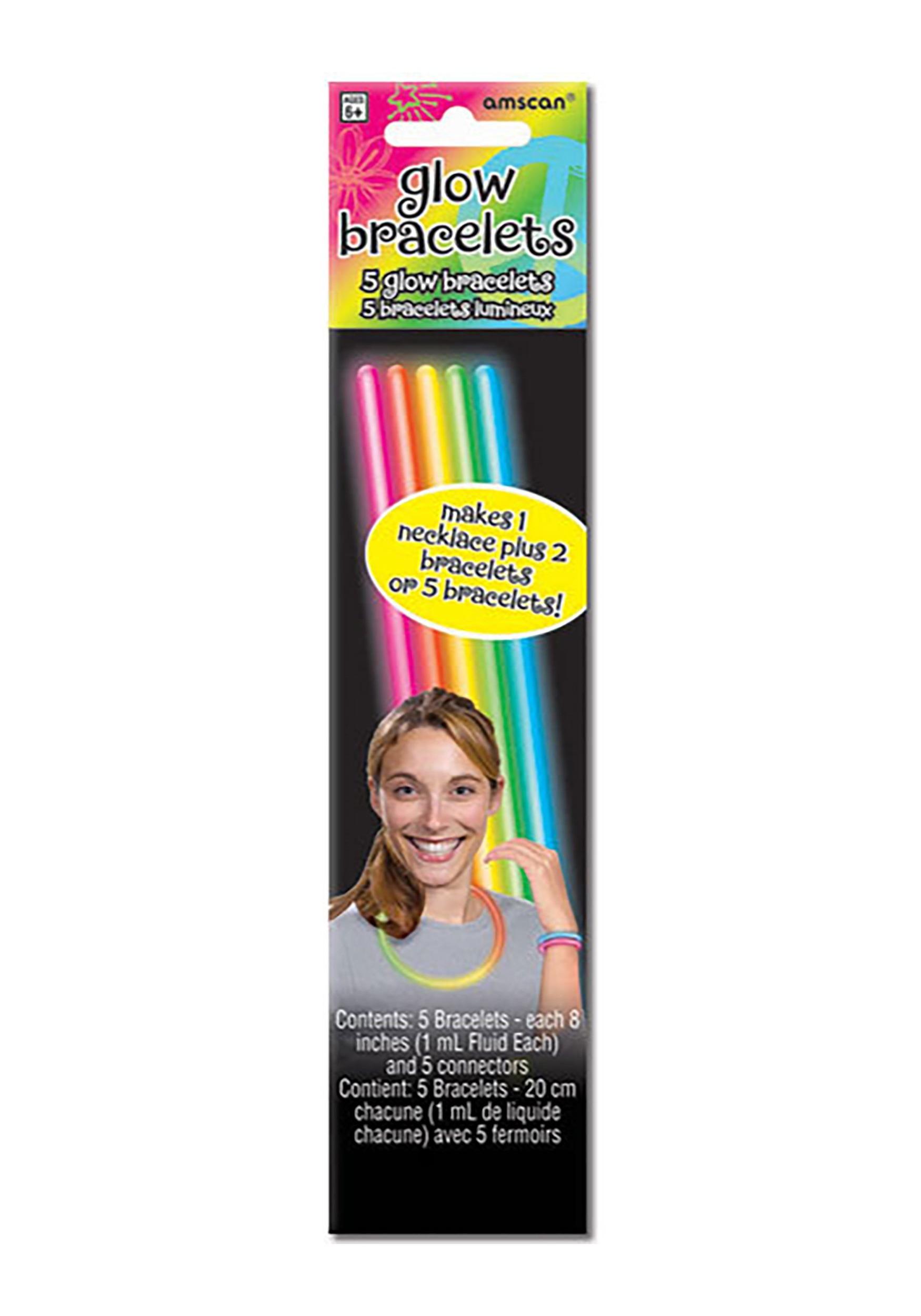 5 Pack of Multicolor Glowstick Bracelets