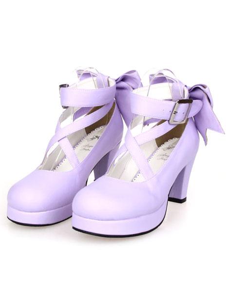 Milanoo Sweet Lolita Shoes Platform Heels Bow Round Toe Cross Front Lolita Pumps