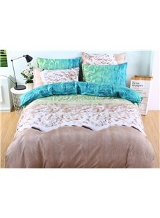 Breathable and Durable Beach Printed 3-Piece Polyester Bedding Sets/Duvet Cover