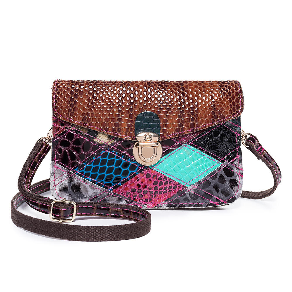 Women Vintage Genuine Leather Animal Pattern Phone Bag