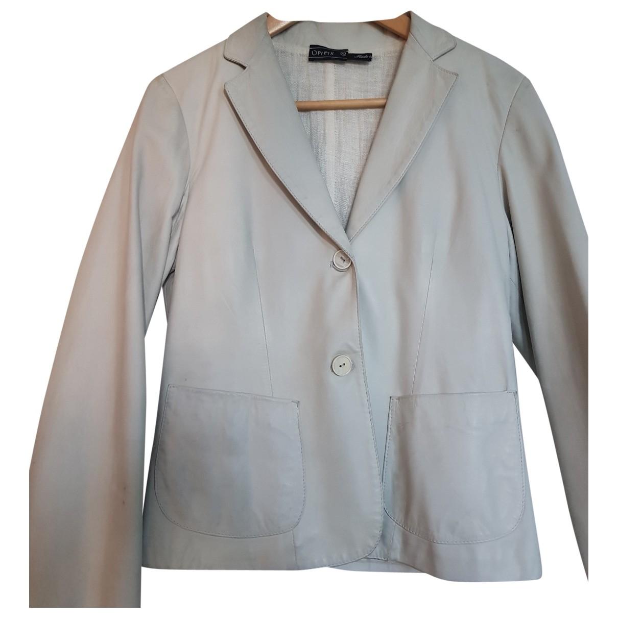 Non Signe / Unsigned \N Jacke in  Grau Leder